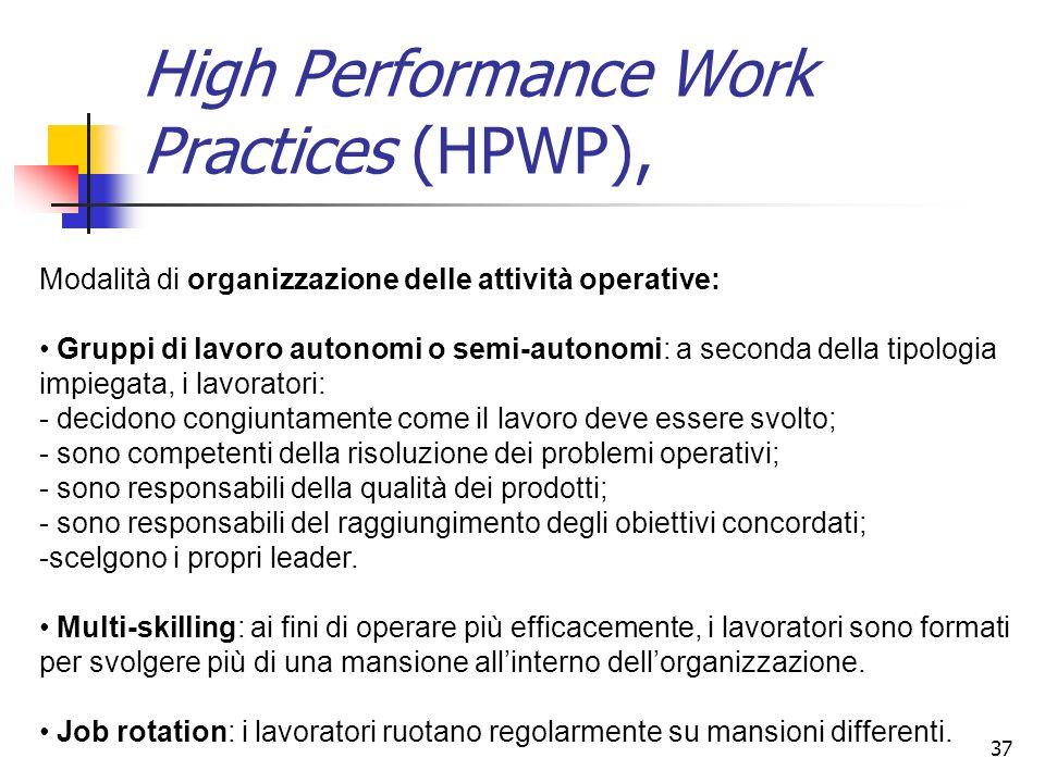 37 High Performance Work Practices (HPWP), Modalità di organizzazione delle attività operative: Gruppi di lavoro autonomi o semi-autonomi: a seconda d