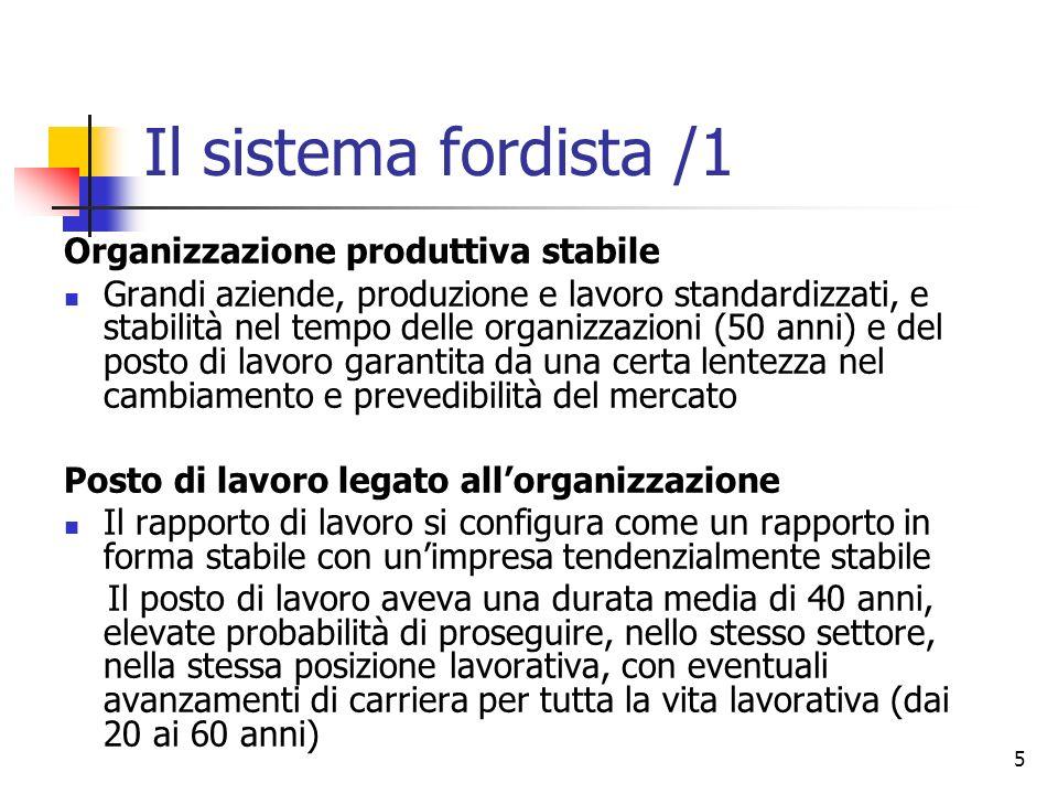 5 Il sistema fordista /1 Organizzazione produttiva stabile Grandi aziende, produzione e lavoro standardizzati, e stabilità nel tempo delle organizzazi