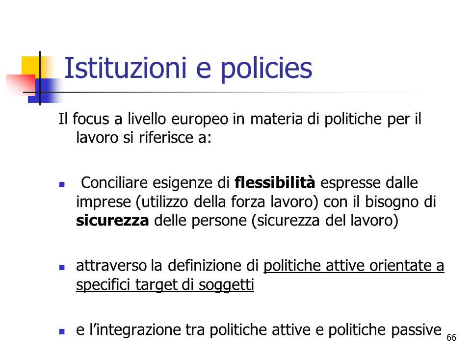66 Il focus a livello europeo in materia di politiche per il lavoro si riferisce a: Conciliare esigenze di flessibilità espresse dalle imprese (utiliz
