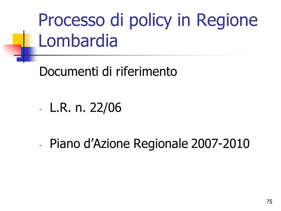 75 Processo di policy in Regione Lombardia Documenti di riferimento - L.R. n. 22/06 - Piano dAzione Regionale 2007-2010