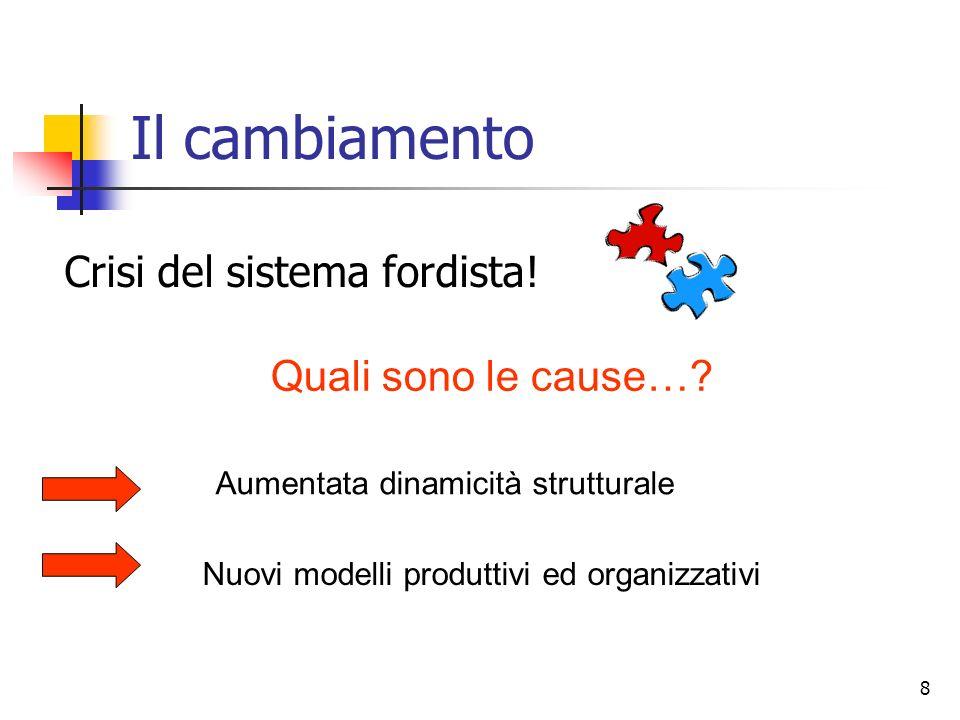 8 Il cambiamento Crisi del sistema fordista! Quali sono le cause…? Aumentata dinamicità strutturale Nuovi modelli produttivi ed organizzativi