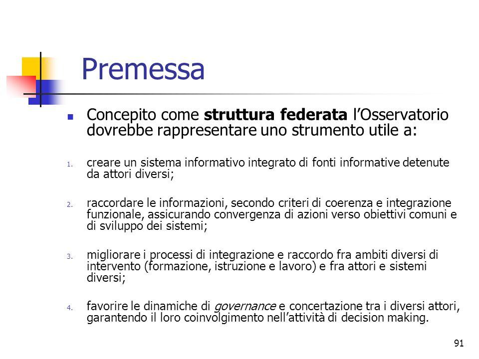 91 Premessa Concepito come struttura federata lOsservatorio dovrebbe rappresentare uno strumento utile a: 1. creare un sistema informativo integrato d
