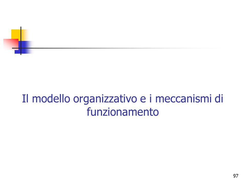 97 Il modello organizzativo e i meccanismi di funzionamento
