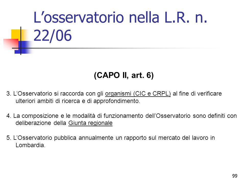 99 Losservatorio nella L.R. n. 22/06 (CAPO II, art. 6) 3. LOsservatorio si raccorda con gli organismi (CIC e CRPL) al fine di verificare ulteriori amb