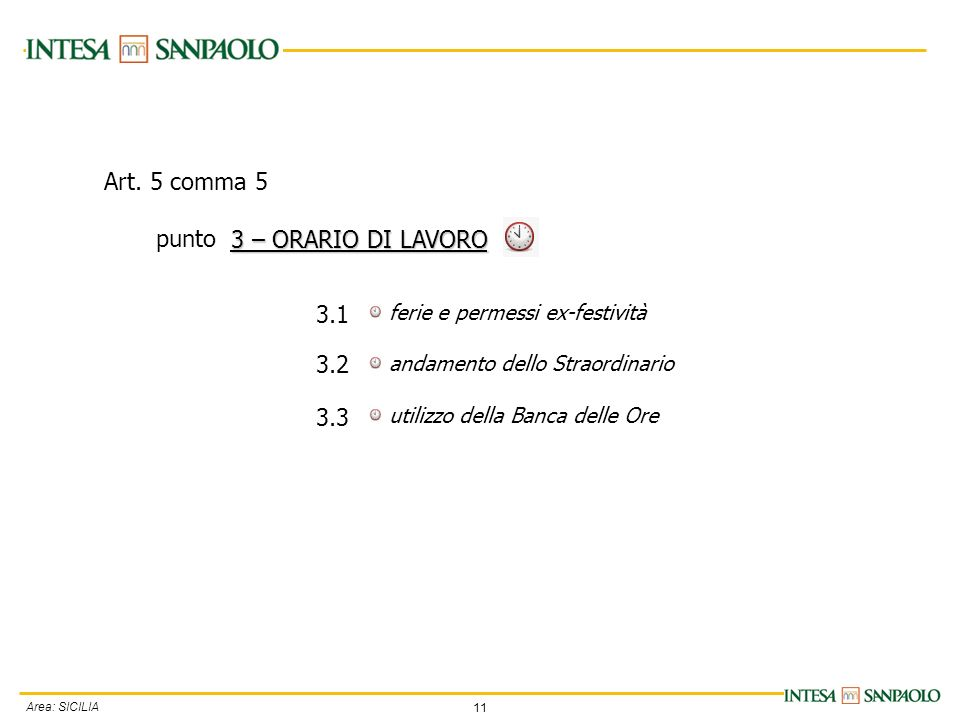 11 Area: SICILIA ferie e permessi ex-festività andamento dello Straordinario utilizzo della Banca delle Ore 3 – ORARIO DI LAVORO 3.1 3.2 3.3 Art. 5 co