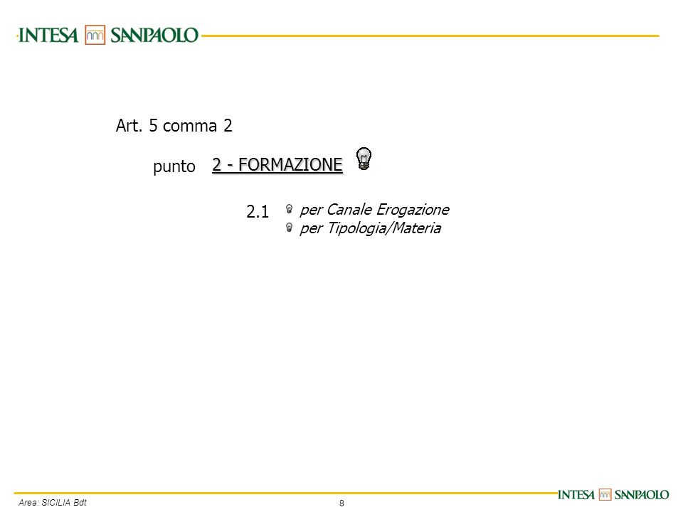 8 Area: SICILIA Bdt per Canale Erogazione per Tipologia/Materia 2 - FORMAZIONE 2.1 Art.