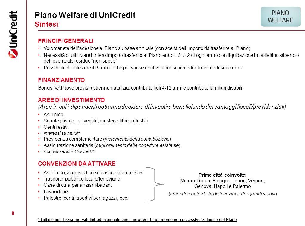 8 PRINCIPI GENERALI Volontarietà delladesione al Piano su base annuale (con scelta dellimporto da trasferire al Piano) Necessità di utilizzare lintero