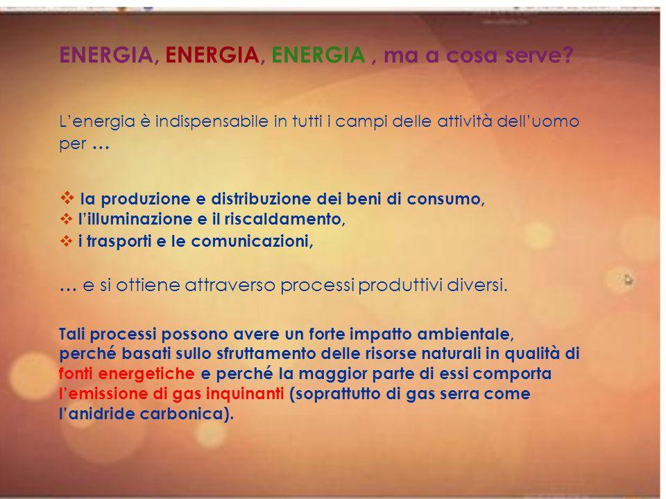 ENERGIA, ENERGIA, ENERGIA, ma a cosa serve? Lenergia è indispensabile in tutti i campi delle attività delluomo per … la produzione e distribuzione dei