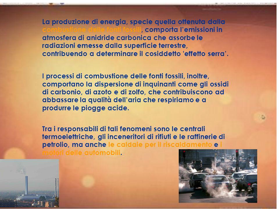 La produzione di energia, specie quella ottenuta dalla combustione delle fonti fossili, comporta lemissioni in atmosfera di anidride carbonica che ass
