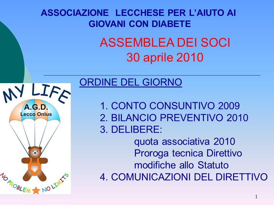 1 ASSEMBLEA DEI SOCI 30 aprile 2010 ASSOCIAZIONE LECCHESE PER LAIUTO AI GIOVANI CON DIABETE ORDINE DEL GIORNO 1.