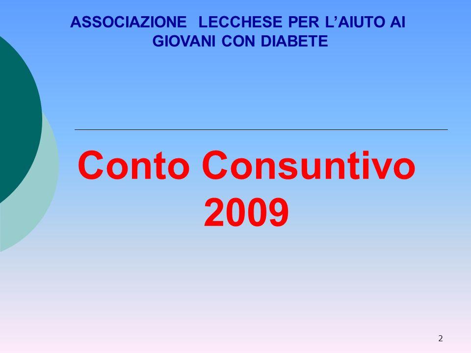 2 Conto Consuntivo 2009 ASSOCIAZIONE LECCHESE PER LAIUTO AI GIOVANI CON DIABETE