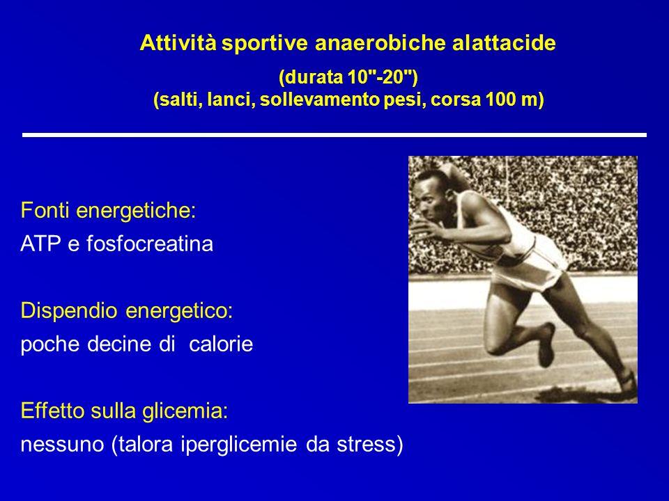 Attività sportive anaerobiche alattacide (durata 10''-20'') (salti, lanci, sollevamento pesi, corsa 100 m) Fonti energetiche: ATP e fosfocreatina Disp