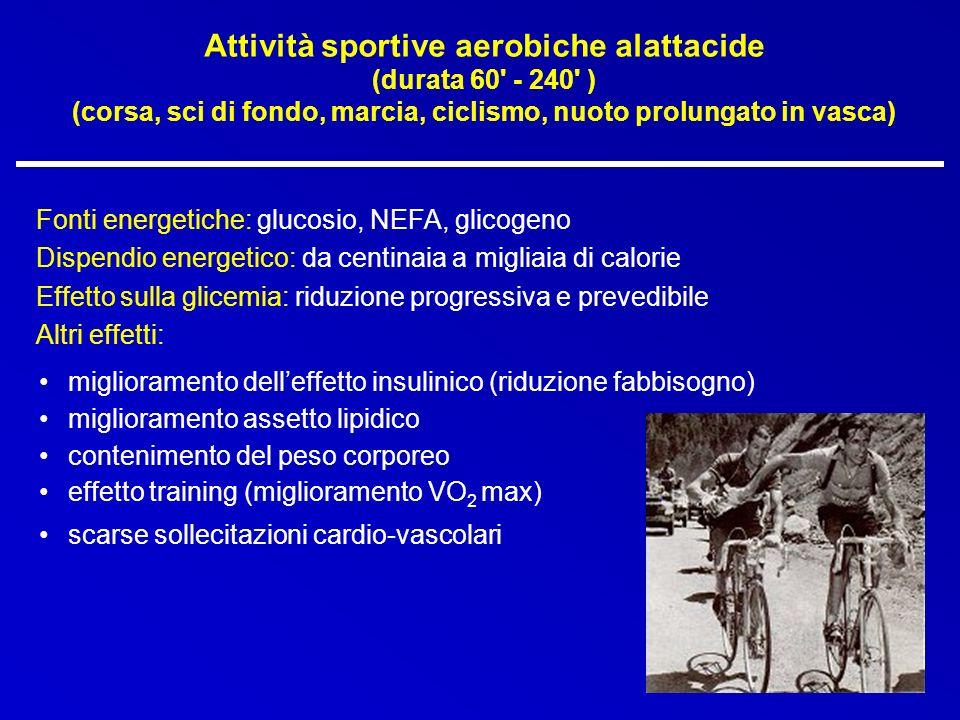 Attività sportive aerobiche alattacide (durata 60' - 240' ) (corsa, sci di fondo, marcia, ciclismo, nuoto prolungato in vasca) Fonti energetiche: gluc