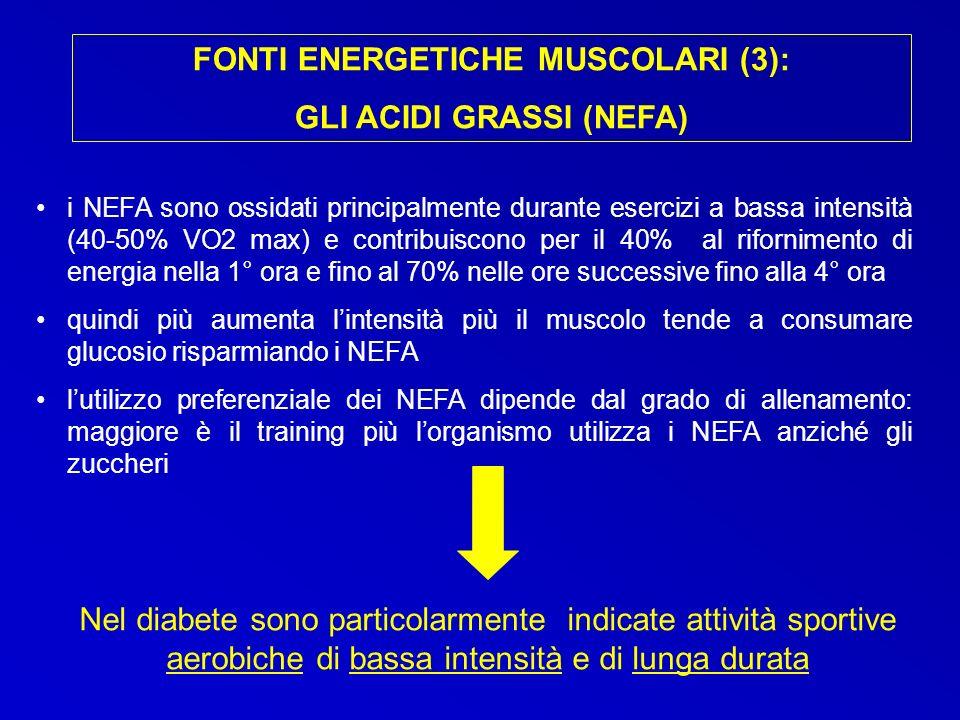 i NEFA sono ossidati principalmente durante esercizi a bassa intensità (40-50% VO2 max) e contribuiscono per il 40% al rifornimento di energia nella 1