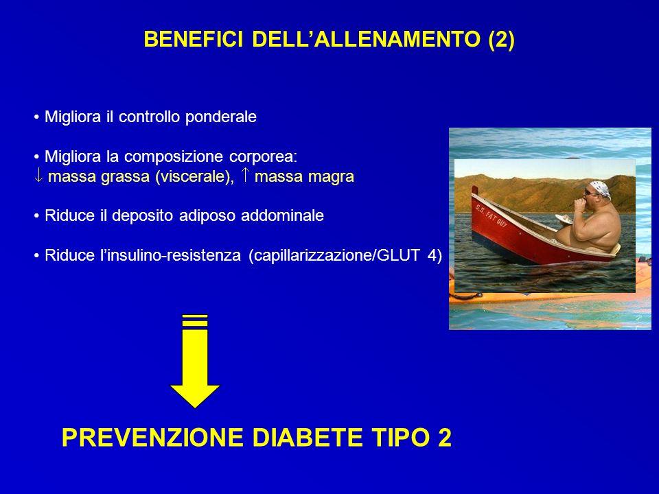 PREVENZIONE DIABETE TIPO 2 Migliora il controllo ponderale Migliora la composizione corporea: massa grassa (viscerale), massa magra Riduce il deposito