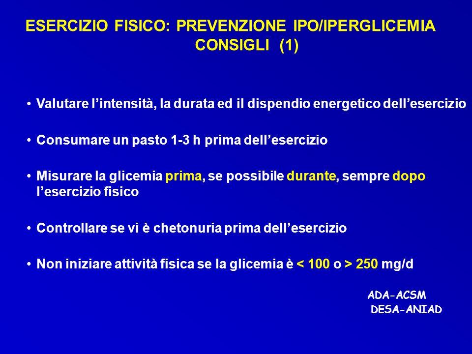 Valutare lintensità, la durata ed il dispendio energetico dellesercizio Consumare un pasto 1-3 h prima dellesercizio Misurare la glicemia prima, se po