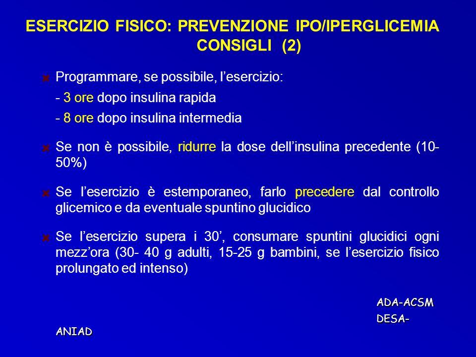 Programmare, se possibile, lesercizio: - 3 ore dopo insulina rapida - 8 ore dopo insulina intermedia Se non è possibile, ridurre la dose dellinsulina