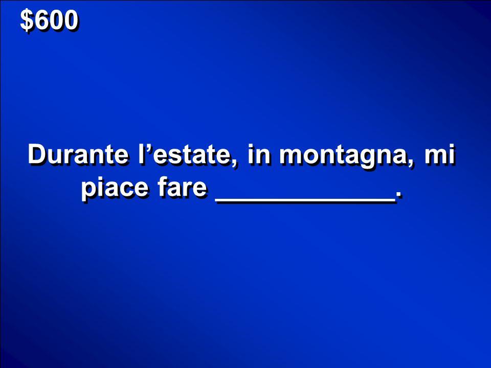 $400 Una gita turisitica Scores