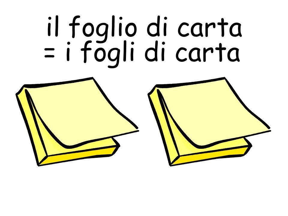 il foglio di carta = i fogli di carta