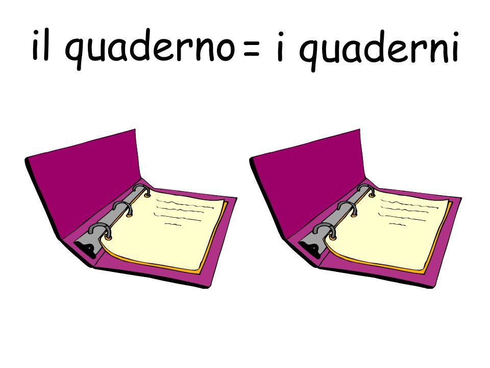 il quaderno = i quaderni