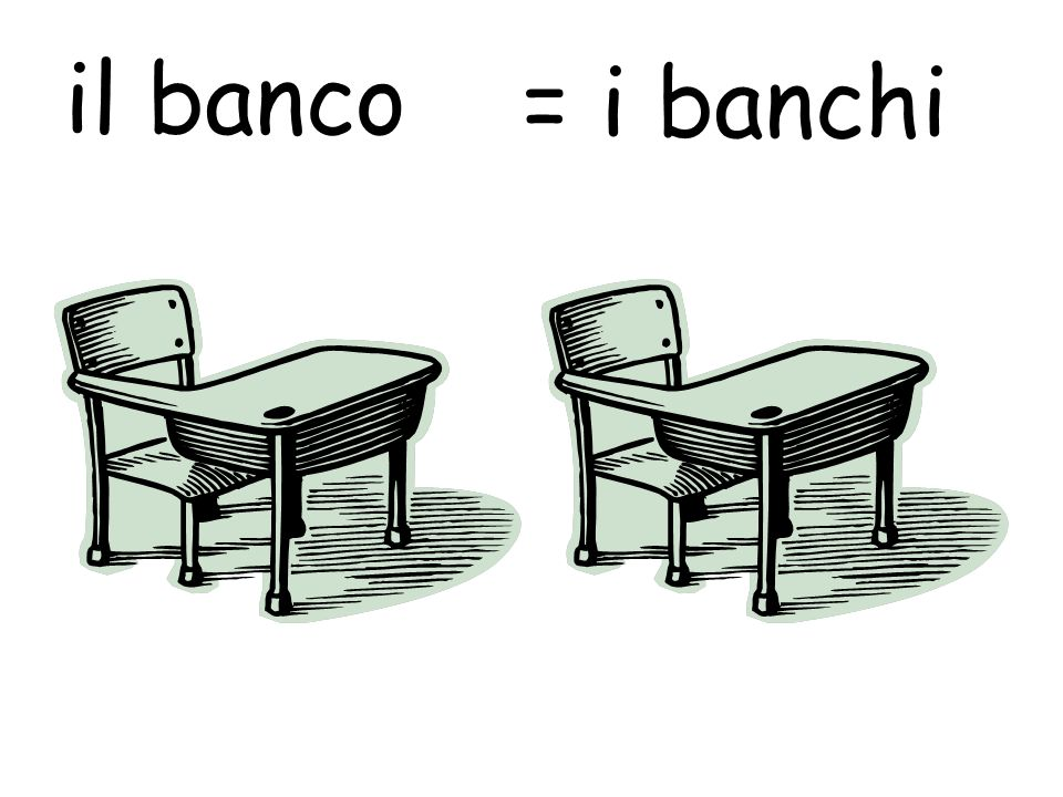 il banco = i banchi