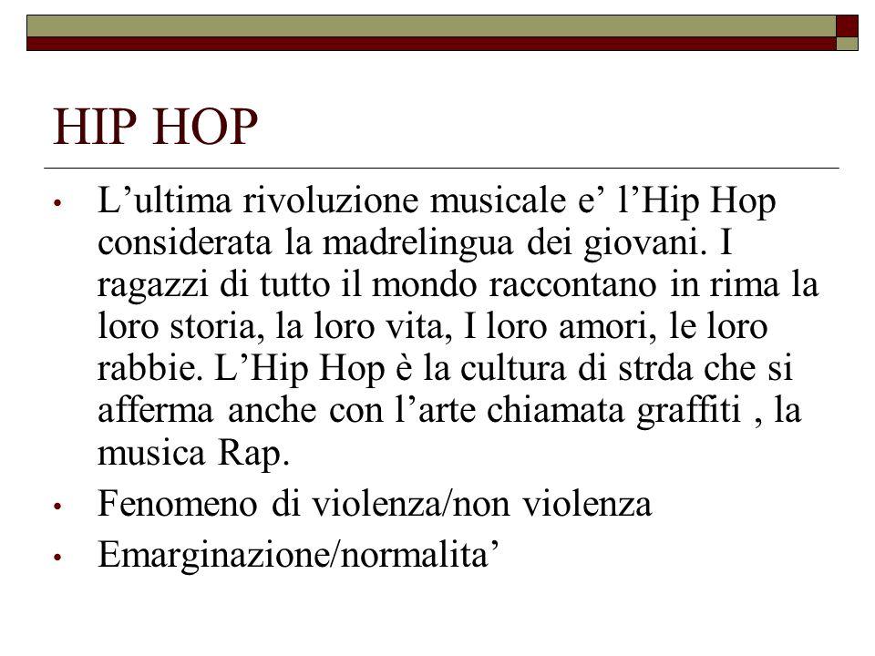 HIP HOP Lultima rivoluzione musicale e lHip Hop considerata la madrelingua dei giovani. I ragazzi di tutto il mondo raccontano in rima la loro storia,
