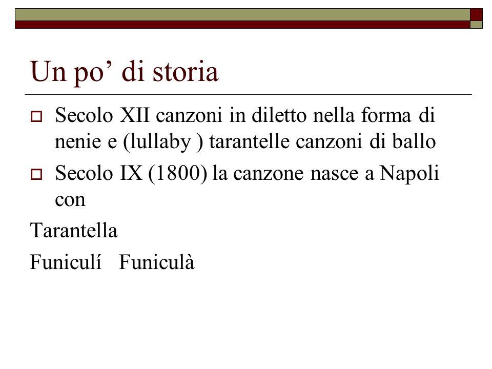 Un po di storia Secolo XII canzoni in diletto nella forma di nenie e (lullaby ) tarantelle canzoni di ballo Secolo IX (1800) la canzone nasce a Napoli