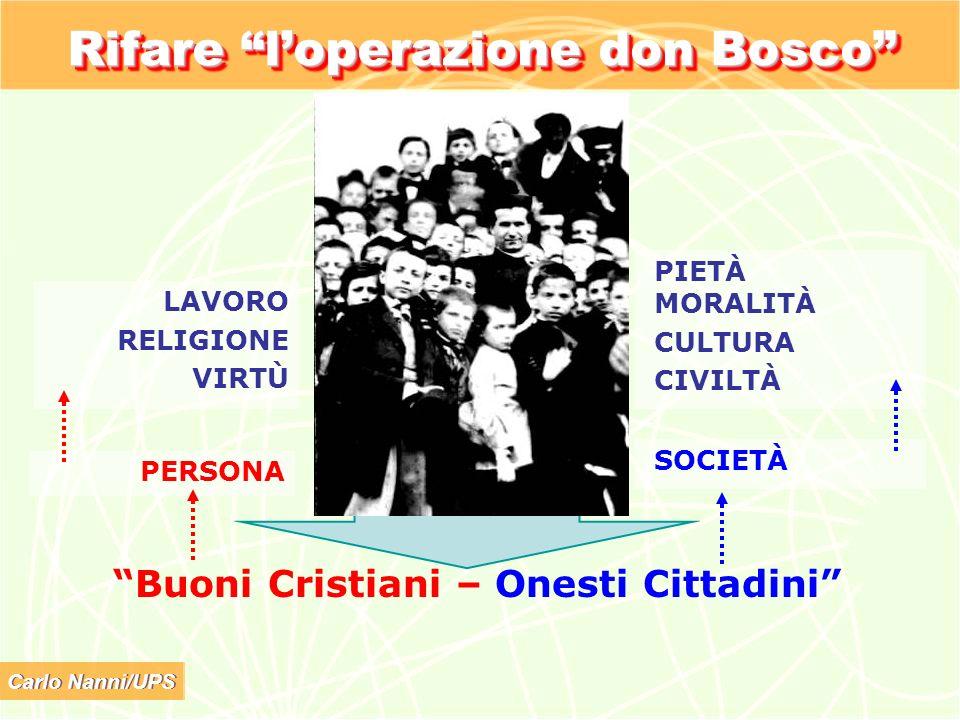 Carlo Nanni/UPS Rifare loperazione don Bosco Buoni Cristiani – Onesti Cittadini PERSONA SOCIETÀ LAVORO RELIGIONE VIRTÙ PIETÀ MORALITÀ CULTURA CIVILTÀ