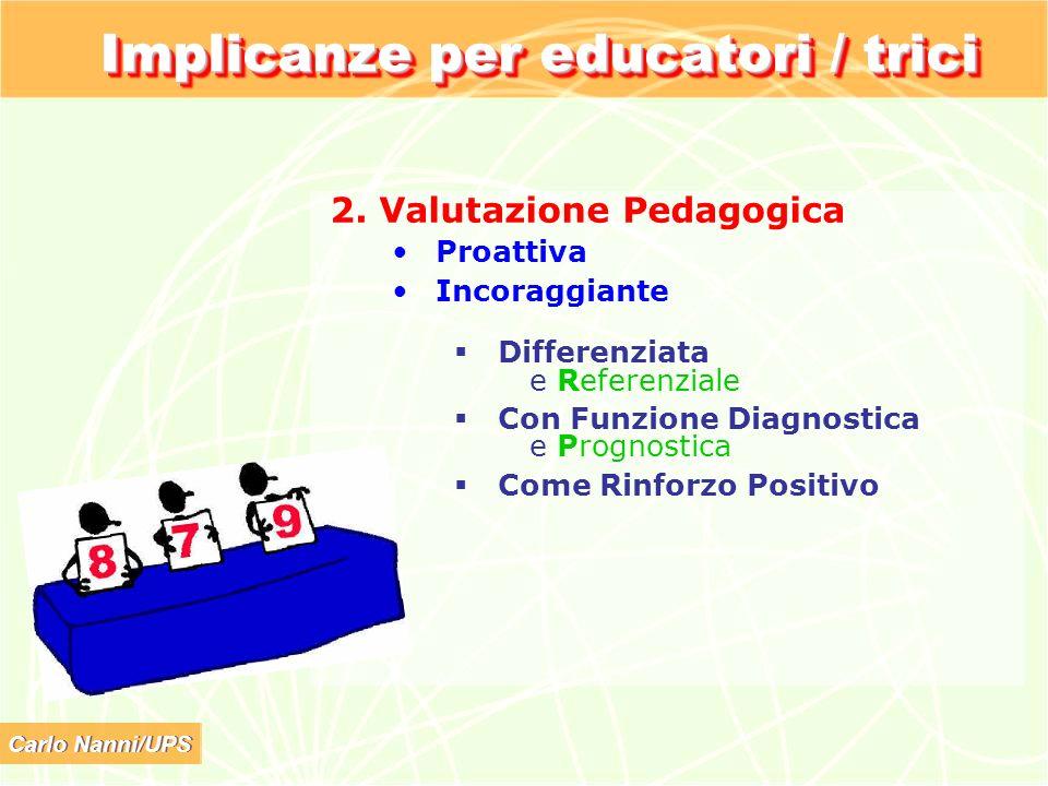 Carlo Nanni/UPS Implicanze per educatori / trici 2. Valutazione Pedagogica Proattiva Incoraggiante Differenziata e Referenziale Con Funzione Diagnosti