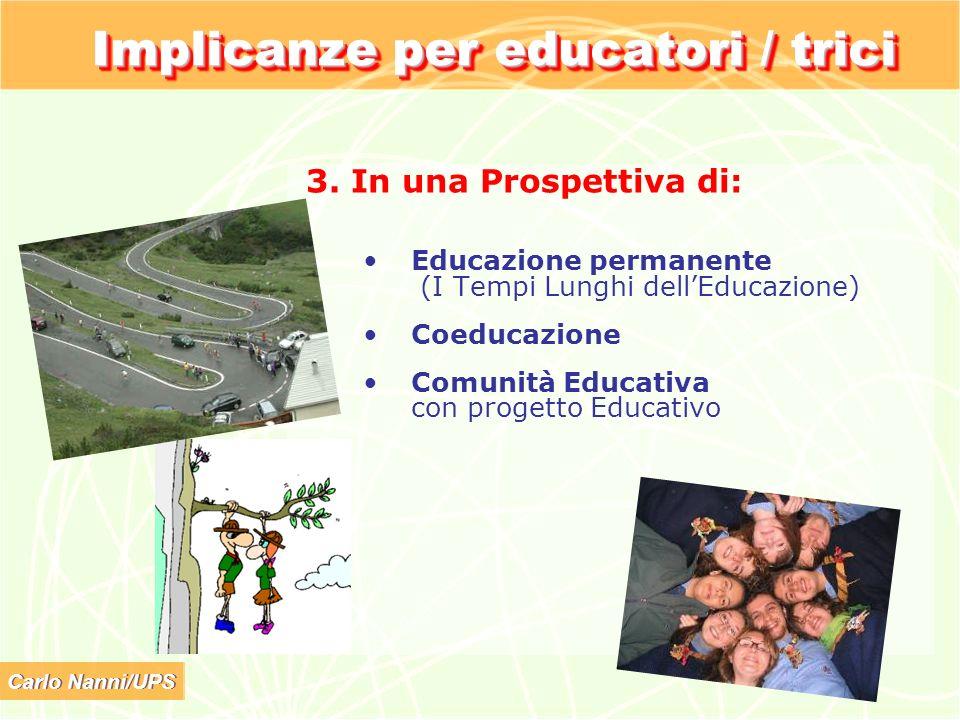 Carlo Nanni/UPS Implicanze per educatori / trici 3. In una Prospettiva di: Educazione permanente (I Tempi Lunghi dellEducazione) Coeducazione Comunità