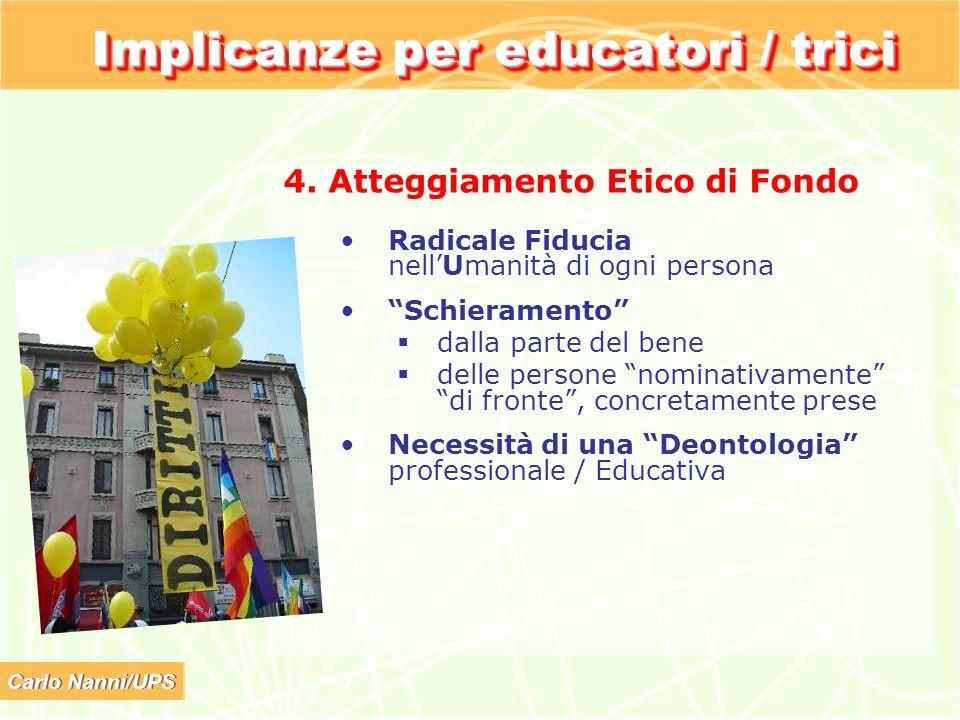 Carlo Nanni/UPS Implicanze per educatori / trici 4. Atteggiamento Etico di Fondo Radicale Fiducia nellUmanità di ogni persona Schieramento dalla parte