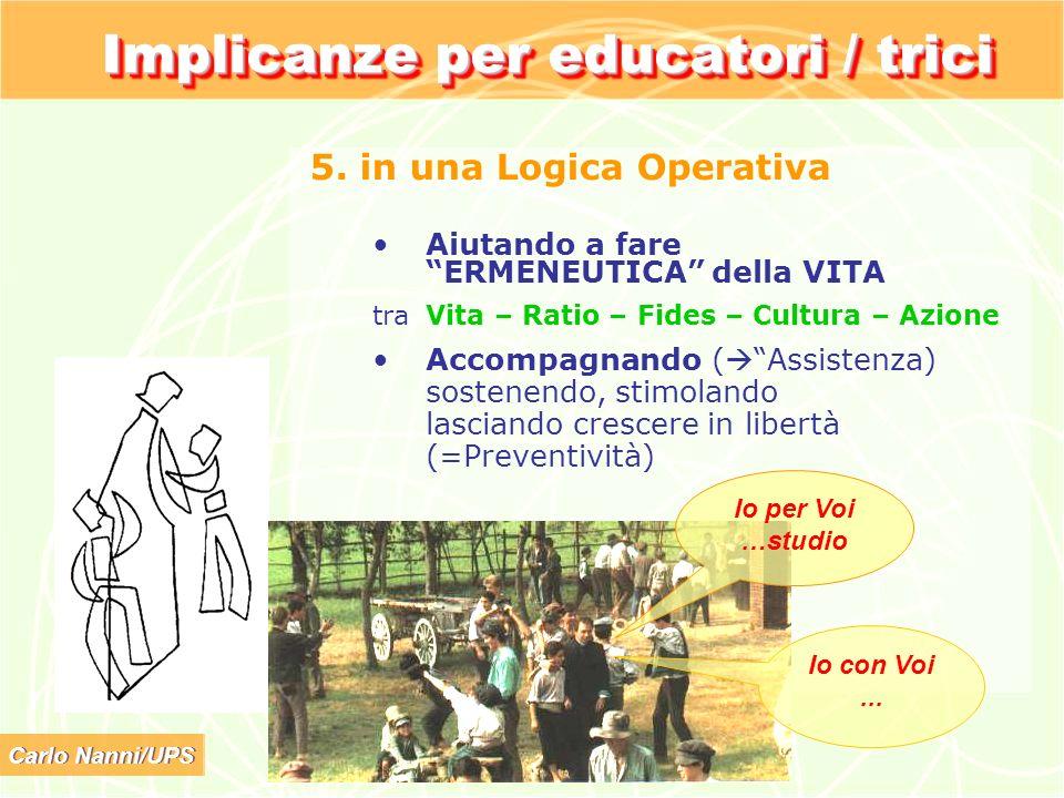 Carlo Nanni/UPS Implicanze per educatori / trici 5. in una Logica Operativa Aiutando a fare ERMENEUTICA della VITA tra Vita – Ratio – Fides – Cultura