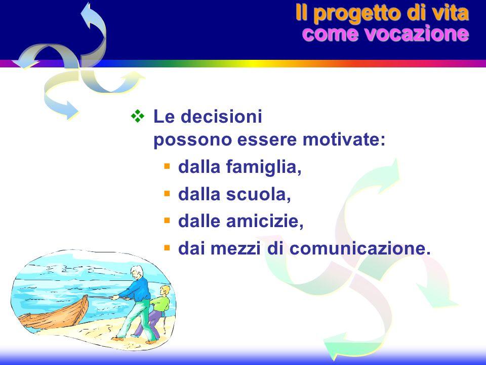 Il progetto di vita come vocazione Le decisioni possono essere motivate: dalla famiglia, dalla scuola, dalle amicizie, dai mezzi di comunicazione.