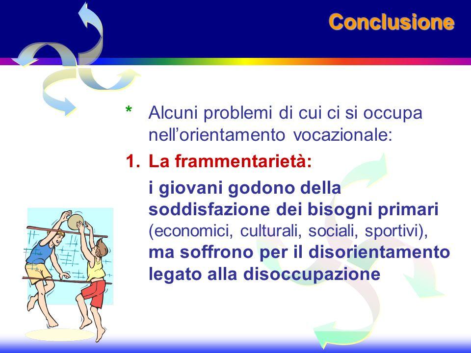 ConclusioneConclusione *Alcuni problemi di cui ci si occupa nellorientamento vocazionale: 1.La frammentarietà: i giovani godono della soddisfazione de