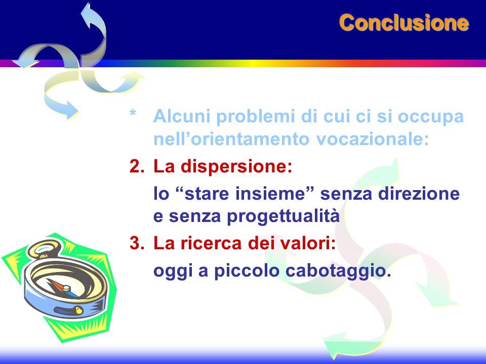 ConclusioneConclusione *Alcuni problemi di cui ci si occupa nellorientamento vocazionale: 2.La dispersione: lo stare insieme senza direzione e senza p
