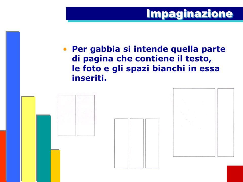 ImpaginazioneImpaginazione Per gabbia si intende quella parte di pagina che contiene il testo, le foto e gli spazi bianchi in essa inseriti.