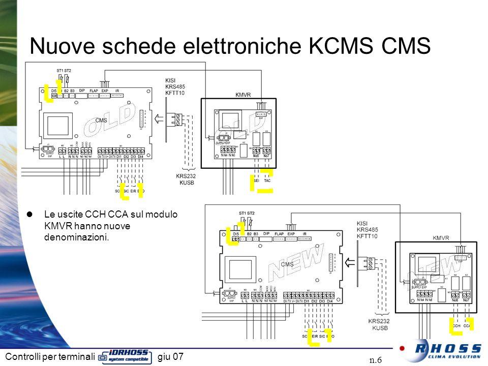 Controlli per terminali giu 07 n.6 Nuove schede elettroniche KCMS CMS Le uscite CCH CCA sul modulo KMVR hanno nuove denominazioni.