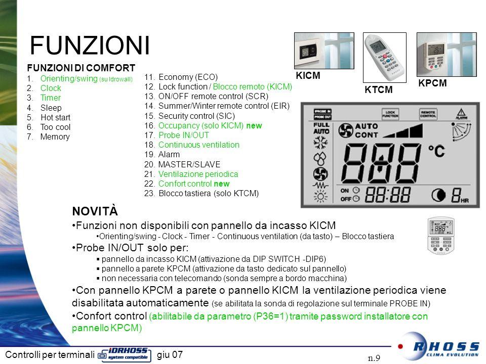 Controlli per terminali giu 07 n.9 FUNZIONI NOVITÀ Funzioni non disponibili con pannello da incasso KICM Orienting/swing - Clock - Timer - Continuous ventilation (da tasto) – Blocco tastiera Probe IN/OUT solo per: pannello da incasso KICM (attivazione da DIP SWITCH -DIP6) pannello a parete KPCM (attivazione da tasto dedicato sul pannello) non necessaria con telecomando (sonda sempre a bordo macchina) Con pannello KPCM a parete o pannello KICM la ventilazione periodica viene disabilitata automaticamente (se abilitata la sonda di regolazione sul terminale PROBE IN) Confort control (abilitabile da parametro (P36=1) tramite password installatore con pannello KPCM) FUNZIONI DI COMFORT 1.Orienting/swing (su Idrowall) 2.Clock 3.Timer 4.Sleep 5.Hot start 6.Too cool 7.Memory 11.Economy (ECO) 12.Lock function / Blocco remoto (KICM) 13.ON/OFF remote control (SCR) 14.Summer/Winter remote control (EIR) 15.Security control (SIC) 16.Occupancy (solo KICM) new 17.Probe IN/OUT 18.Continuous ventilation 19.Alarm 20.MASTER/SLAVE 21.Ventilazione periodica 22.Confort control new 23.Blocco tastiera (solo KTCM) KPCM KTCM KICM