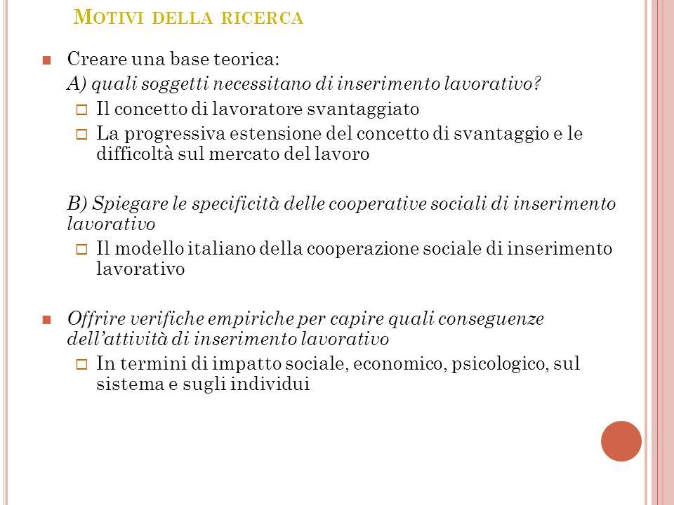 M OTIVI DELLA RICERCA Creare una base teorica: A) quali soggetti necessitano di inserimento lavorativo.