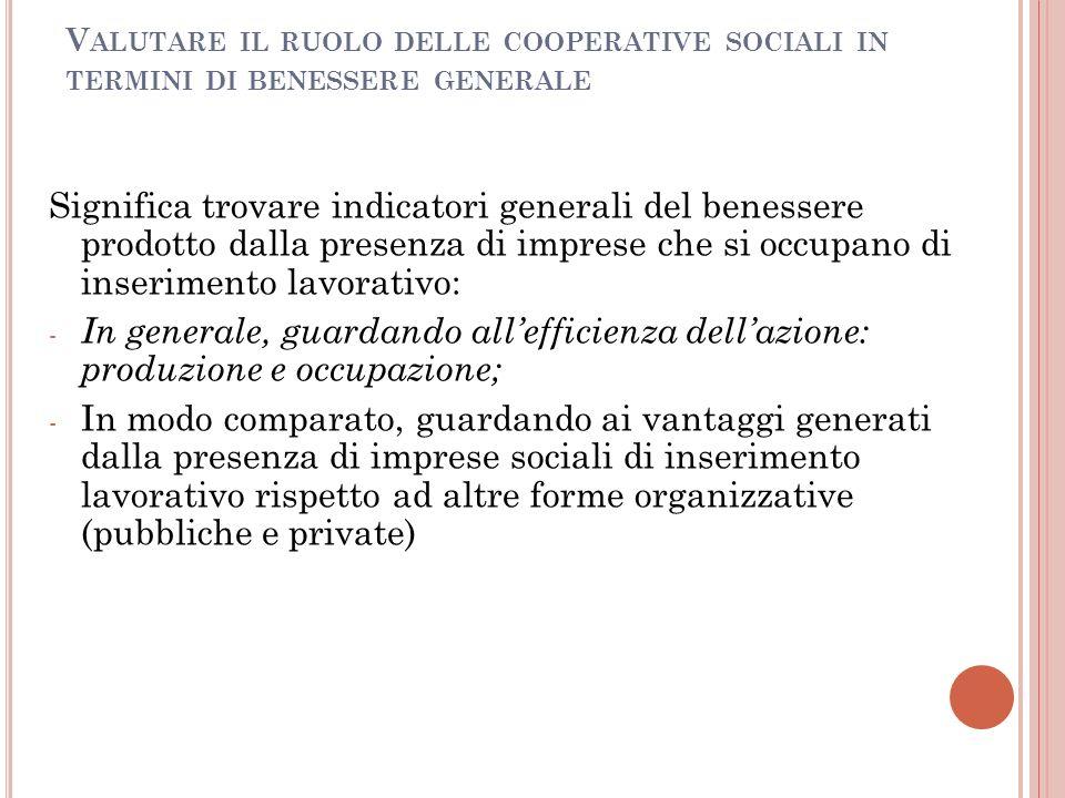 V ALUTARE IL RUOLO DELLE COOPERATIVE SOCIALI IN TERMINI DI BENESSERE GENERALE Significa trovare indicatori generali del benessere prodotto dalla prese