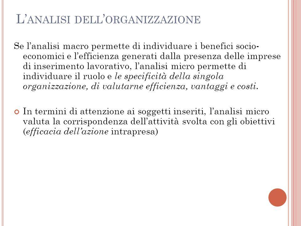 L ANALISI DELL ORGANIZZAZIONE Se lanalisi macro permette di individuare i benefici socio- economici e lefficienza generati dalla presenza delle impres