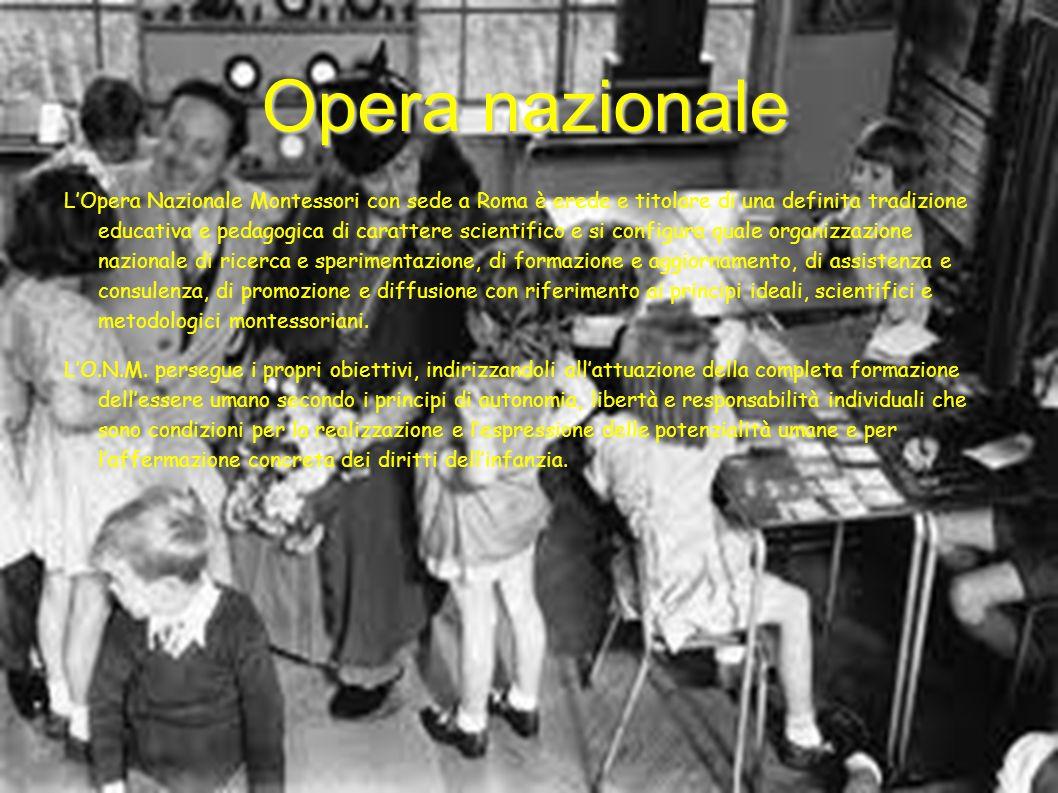 Opera nazionale LOpera Nazionale Montessori con sede a Roma è erede e titolare di una definita tradizione educativa e pedagogica di carattere scientif