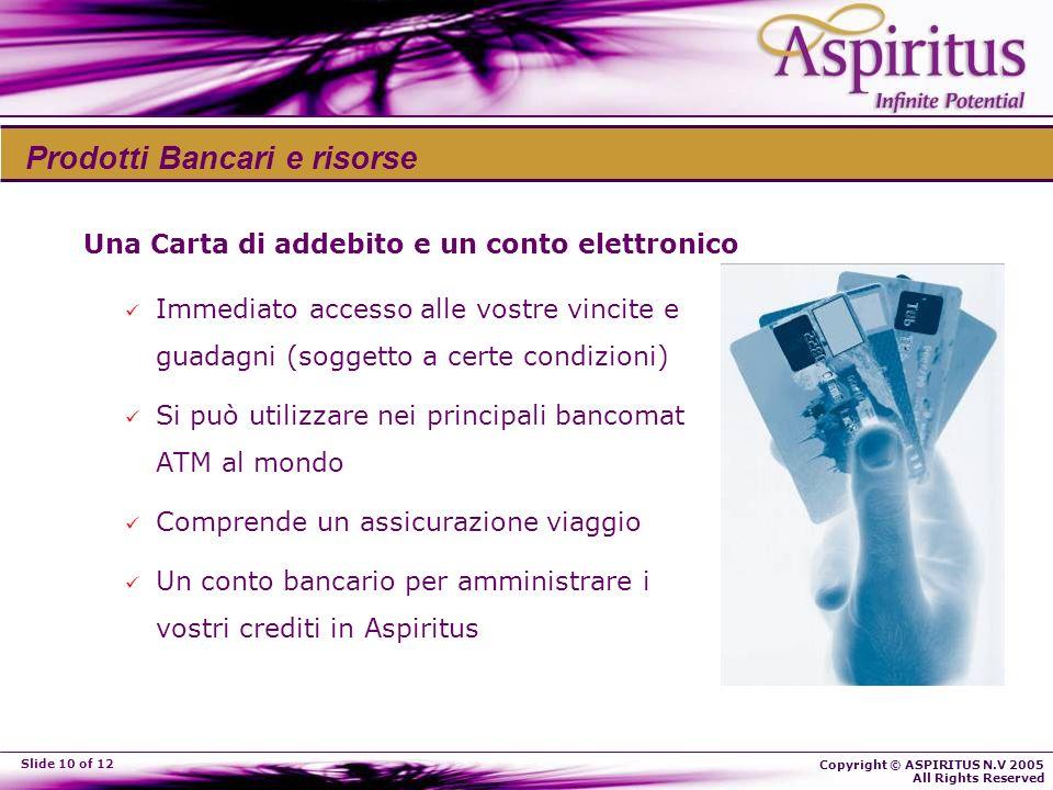 Copyright © ASPIRITUS N.V 2005 All Rights Reserved Slide 10 of 12 Una Carta di addebito e un conto elettronico Immediato accesso alle vostre vincite e