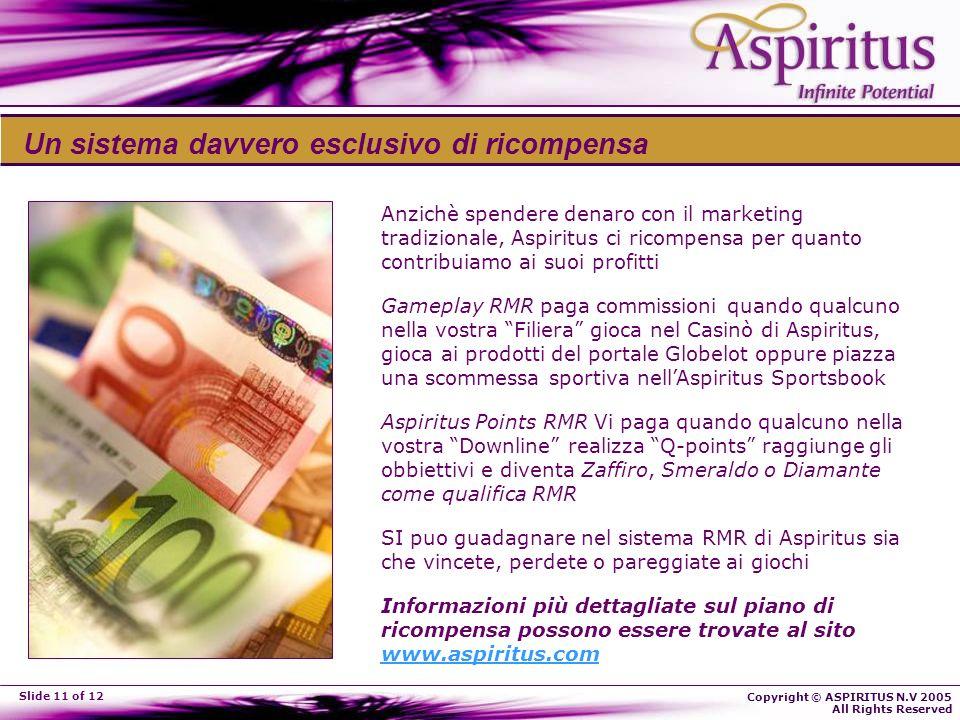 Copyright © ASPIRITUS N.V 2005 All Rights Reserved Slide 11 of 12 Un sistema davvero esclusivo di ricompensa Anzichè spendere denaro con il marketing
