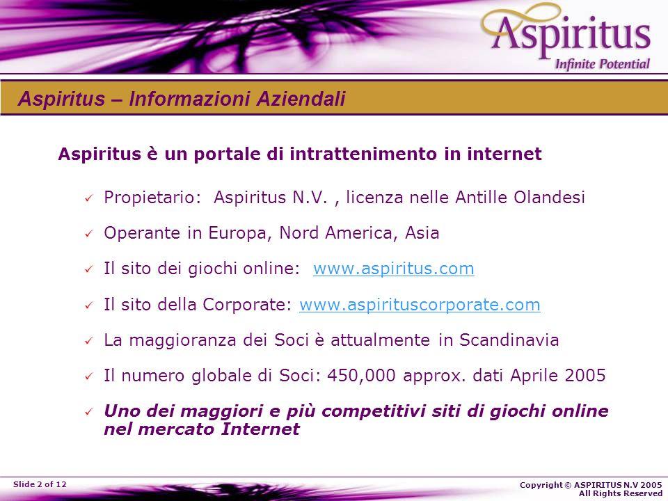 Copyright © ASPIRITUS N.V 2005 All Rights Reserved Slide 2 of 12 Aspiritus – Informazioni Aziendali Aspiritus è un portale di intrattenimento in internet Propietario: Aspiritus N.V., licenza nelle Antille Olandesi Operante in Europa, Nord America, Asia Il sito dei giochi online: www.aspiritus.comwww.aspiritus.com Il sito della Corporate: www.aspirituscorporate.comwww.aspirituscorporate.com La maggioranza dei Soci è attualmente in Scandinavia Il numero globale di Soci: 450,000 approx.