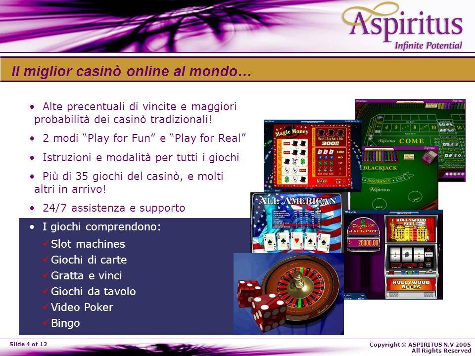 Copyright © ASPIRITUS N.V 2005 All Rights Reserved Slide 4 of 12 Il miglior casinò online al mondo… Alte precentuali di vincite e maggiori probabilità