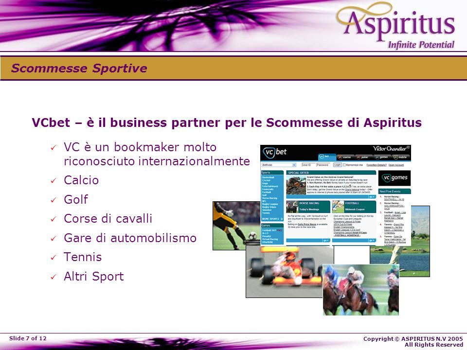 Copyright © ASPIRITUS N.V 2005 All Rights Reserved Slide 7 of 12 VCbet – è il business partner per le Scommesse di Aspiritus VC è un bookmaker molto riconosciuto internazionalmente Calcio Golf Corse di cavalli Gare di automobilismo Tennis Altri Sport Scommesse Sportive