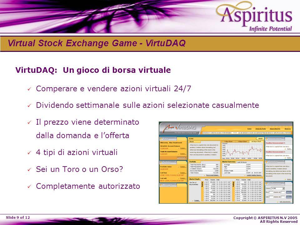 Copyright © ASPIRITUS N.V 2005 All Rights Reserved Slide 9 of 12 VirtuDAQ: Un gioco di borsa virtuale Comperare e vendere azioni virtuali 24/7 Dividen