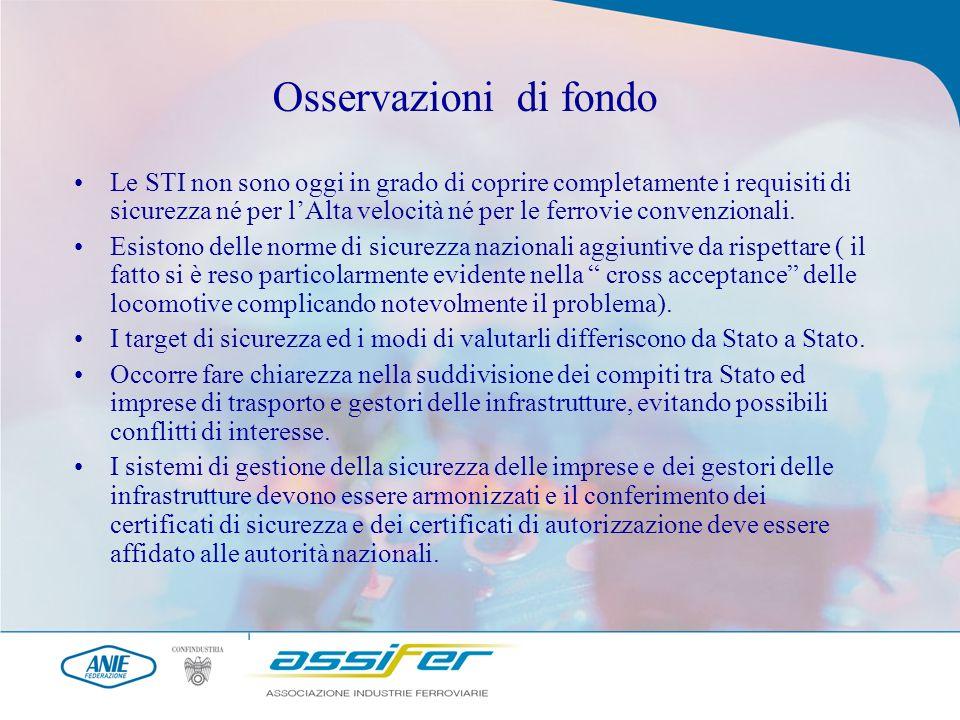 Osservazioni di fondo Le STI non sono oggi in grado di coprire completamente i requisiti di sicurezza né per lAlta velocità né per le ferrovie convenzionali.