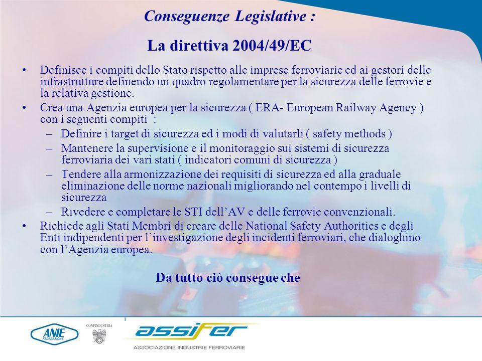 Conseguenze Legislative : La direttiva 2004/49/EC Definisce i compiti dello Stato rispetto alle imprese ferroviarie ed ai gestori delle infrastrutture definendo un quadro regolamentare per la sicurezza delle ferrovie e la relativa gestione.